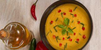 Supa crema de linte rosie si cocos