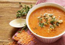 supa de linte rosie, cu legume