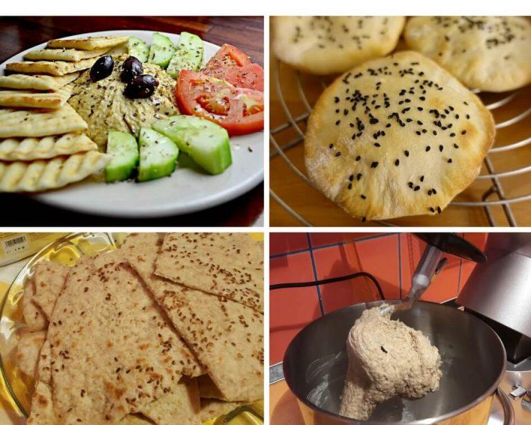 Lipie de casa cu susan pentru humus si alte aperitive cremoase