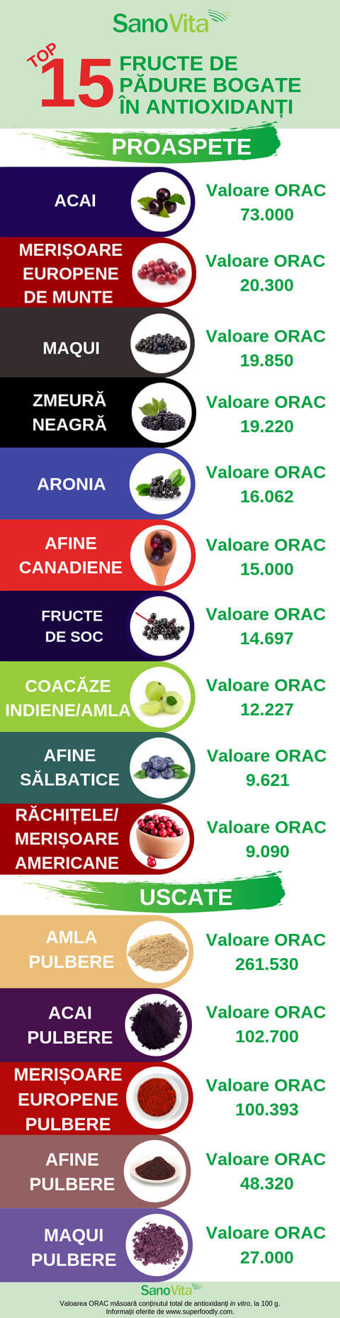 Top 15 fructe de padure bogate in antioxidanti - infografic