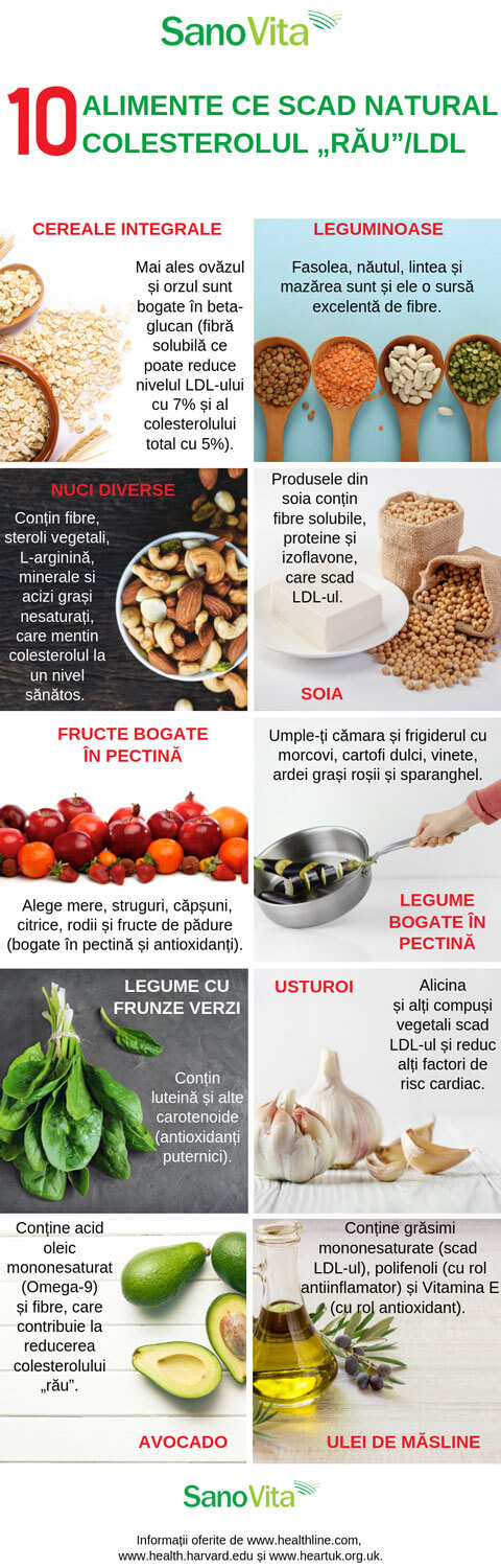 "10 alimente care scad colesterolul ""rau""_LDL in mod natural – infografic"